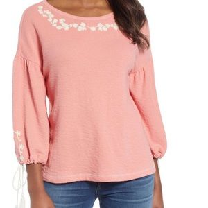 Caslon Embroidered French Terry Top Medium